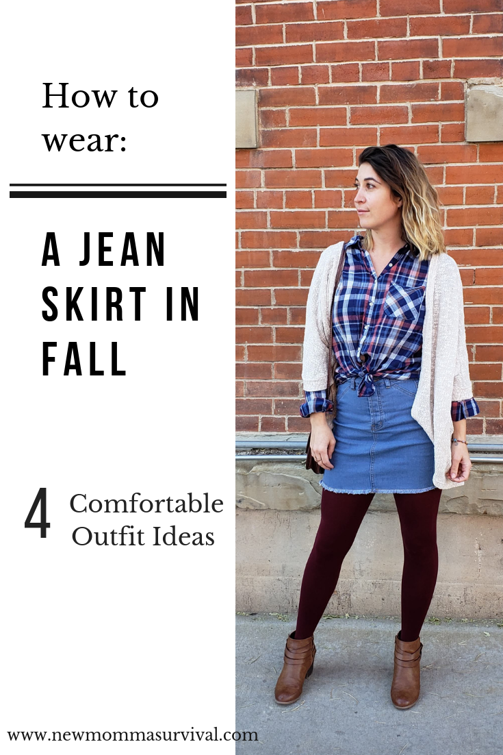 how to wear a jean skirt in fall